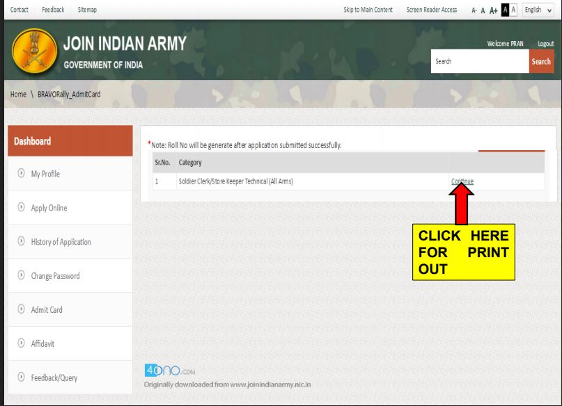 Download Indian Army Admit Card 2018 All Trades Online
